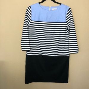 LOFT 3/4 Sleeve Striped Chambray Dress Medium
